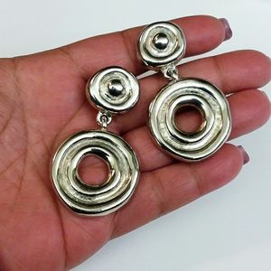 Vintage Large Silver Tone Modernist Earrings